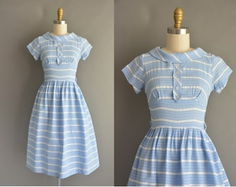 vintage 1950s dress / 50s blue cotton stripe print vintage dress