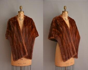40s brown fur vintage stole / vintage 1940s fur shrug