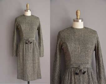 50s Gay Gibson gray and black wool vintage wiggle dress / vintage 1950s dress