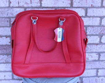 Vintage American Tourister Luggage Tag Carry on Bag Bright Red