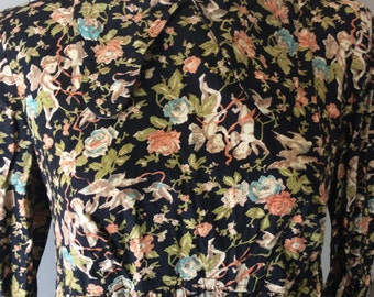 Cherub and Floral print Collared dress 10/12 1960's