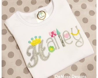 Princess Name Shirt or Bodysuit, Appliqued Embroidered, Short or Long Sleeve Shirt,  Totally Custom Colors and Fabrics