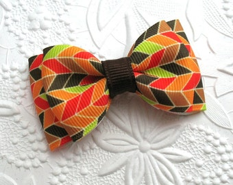 "Thanksgiving Hair Bow Clip, 3"" Autumn Babies, Toddlers, Girls"