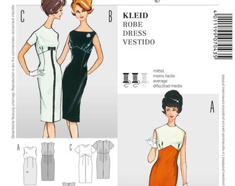 Misses' 60's Style Sheath Dress in Crew Neck or Bateau Neckline - Vintage 60's Reissued Pattern - Sz 10 thru 22 - Burda Style 7043