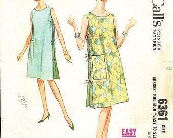 ON SALE Misses' Muu Muu Dress with Side Inverted Pleats - SZ 10/12 - Small - Vintage 1960s Dress Sewing Pattern - McCall's 6361