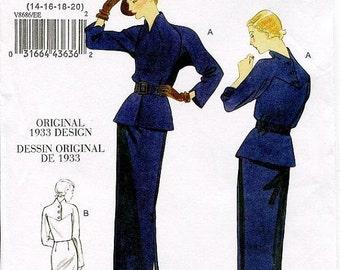 ON SALE SZ 14/16/18/20 - Vintage Vogue Dress Pattern V8686 - Misses' Raised Neck Dolman Sleeve Dress & Belt with Peplum - Vogue Vintage 1933