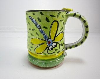 Ceramic Coffee Mug Dragonfly on Lime Green Pottery Clay Majolica 12 ounce
