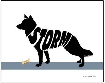 Personalized German Shepherd Silhouette Art Print, Dog Lover's Gift, Custom Dog Breed Print, Memorial Dog Gift
