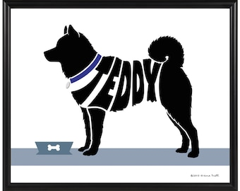 Personalized Shiba Inu Print, Framed Silhouette Dog Print, Shiba Inu Art, Dog Decor Gift
