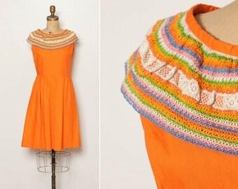 vintage 1960s orange fiesta dress