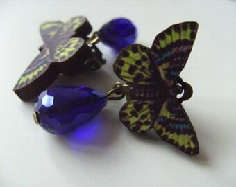 Butterfly, CLIP ON, earrings, wood, dangle, tear drop, faceted glass, yellow, black , blue, by NewellsJewels on etsy
