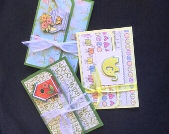 set of three gift card holders