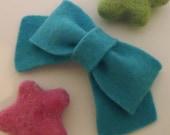 Felt hair clip -No slip -Wool felt -classic bow -teal (pick size and colour)