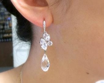 Wedding earrings bridal jewelry rhodium silver cubic zirconia hooks clear white swarovski briolette teardrop crystal cz marquise connectors