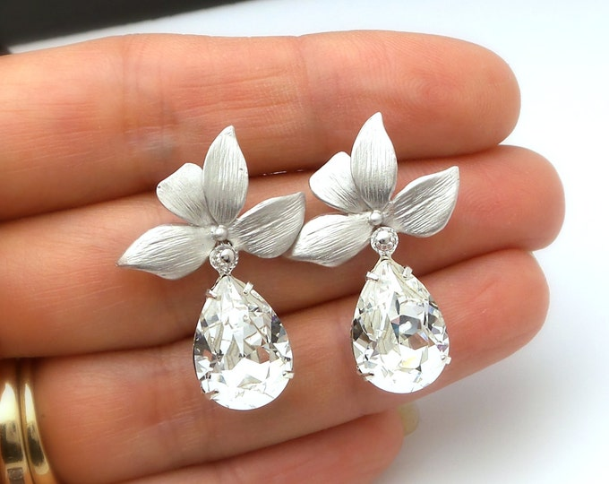 bridal wedding Jewelry bridesmaid christmas prom party gift pageant orchid flower matte post earrings swarovski teardrop clear rhinestone