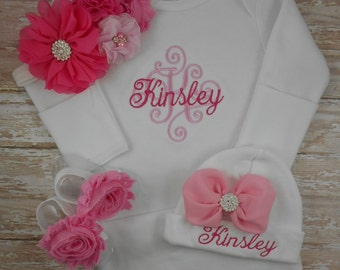 Newborn, Baby girl coming home outfit, Monogrammed, Inital, Name, baby girl gown, newborn girl clothes, baby girl outfit, hospital hat, set