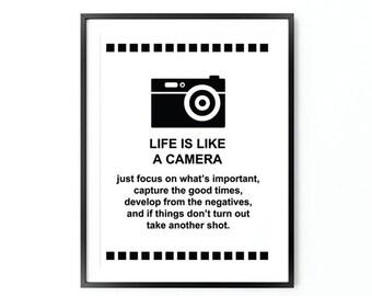 Life is like a camera, Inspirational Poster,  Scandinavian Art, Motivational Poster, Oversized Art, Inspirational  Quote, Trending Items