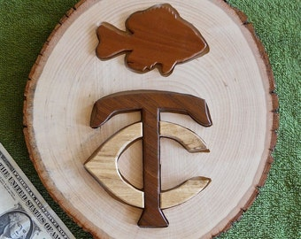 Handmade wood Scroll Saw artwork Fish and Twin Cities Wall Plaque