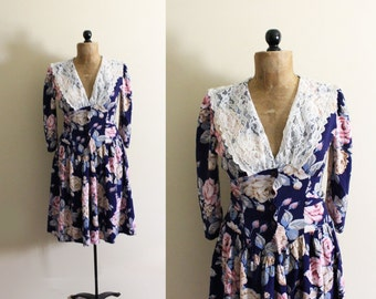 vintage dress lace collar floral print 80s navy blue romantic 1980s womens clothing size small s