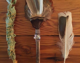 Feather + Driftwood Smudge Wand + Smudge Stick