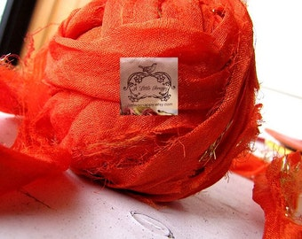 Sari Silk Recycled Ribbon Orange Royalty