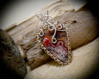 Red Mexican Crazy Lace Agate Crystal & Silver Wire Wrapped Gemstone Pendant