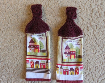 """Crocheted Topped Hanging Kitchen Towels: """"Home Is Where The Heart Is"""" Towels- Housewarming gift idea"""