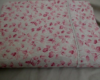Martex cotton full flat sheet -  double, pink, floral