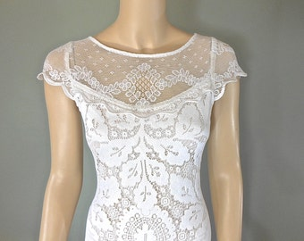 Lace Wedding dresses BOHEMIAN Wedding Dress VINTAGE wedding Dresses Off White Cap Sleeves, Plunging Back Sz Small
