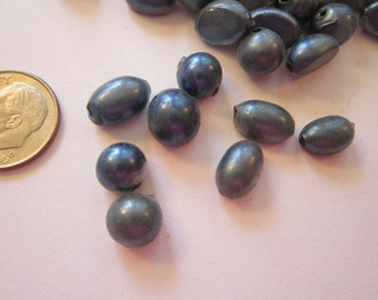 50 rare vintage hollow glass pearls - 6mm to 8mm blown glass hollow pearls - dark denim blue glass pearls - blown glass beads