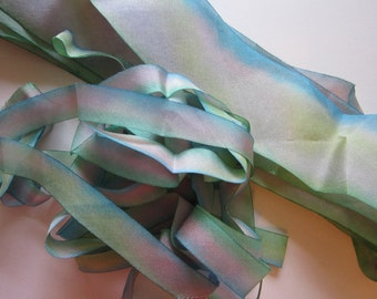 "6 yards pure SILK ribbon - dyed silk ribbon - 1/2"" and 1-3/8"" widths"