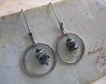 handmade earrings - sterling silver and labradorite, blue flash labradorite, hand forged sterling - L1