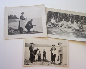 3 vintage photographs - clean up at the water's edge, picnic