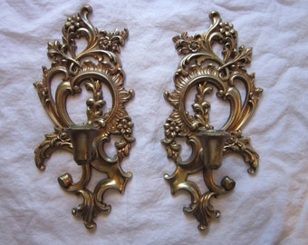 2 vintage Syroco wood candle sconces - taper candle sconces - gold finish