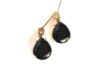 Black and White CZ Earrings, Black Pear Stone Earrings, Black Glass Earrings, CZ Earrings