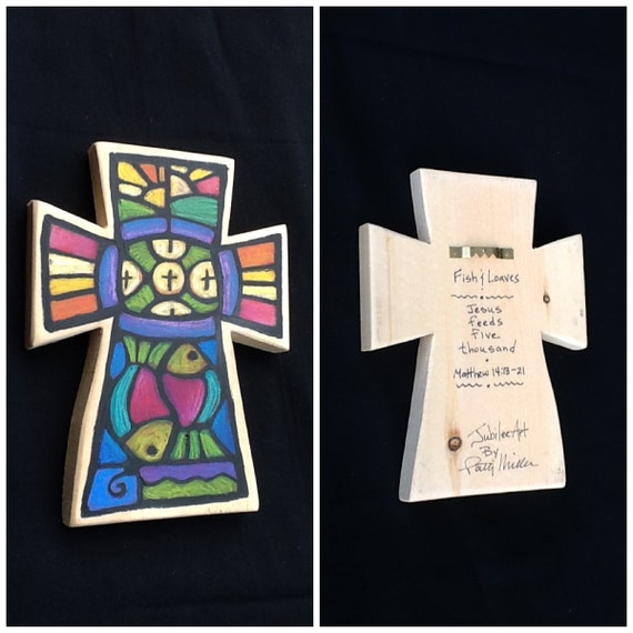 Hand Painted Wall Cross - Fish and Loaves