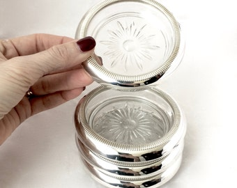 Sterling silver and cut glass Coasters / set of 4 Sterling Silver coasters