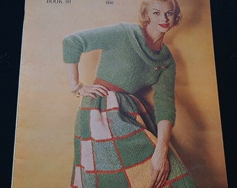 1960s Knit Dress and Sweater Pattern Booklet / 1960 Bernat Handicrafter Book No 89 / 60s Knitting Book - Dresses, Suits, Sweaters