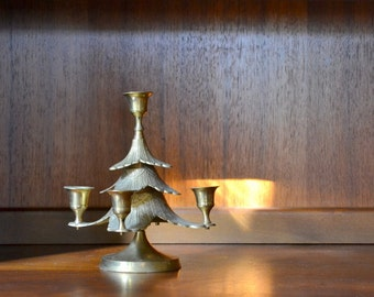 SALE vintage brass christmas tree candlestick holder / rustic modern decor / brass candle stick