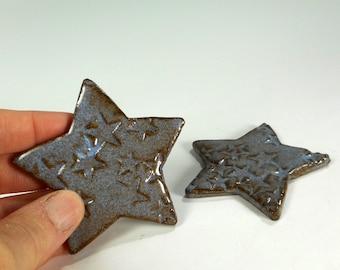 Star shaped tea bag holder spoon rest, ceramic star spoon rests, pottery spoon dish, stoneware tea bag holder blue gray glaze set of 2