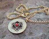 SALE - Ornate Antiqued Gold Round Pendant Necklace, chain necklace, boho bohemian
