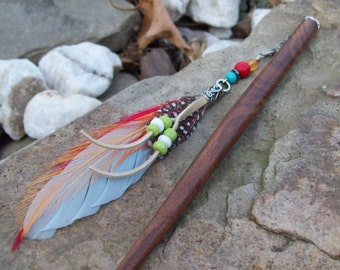 Boho Bohemian hair stick, hair pin, Hippie beaded hairstick, dangle Feather, decoravite hair adornment