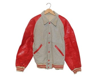 Vintage Blank Grey & Red Leather Varsity Jacket Made in USA - Medium