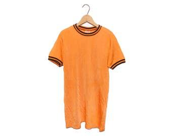 Vintage 60's Hanes Orange & Black Hanesport Janesville Cotton Mills Ringer Shirt Made in USA - Medium