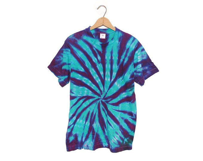Vintage Bright Blue & Purple Tie Dye 100% Cotton T-shirt (OS-TS-36)