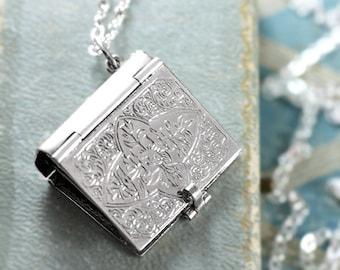 Sterling Silver Book Locket Necklace, Rare Rectangular Four Photo Locket Pendant - Charming