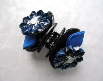 blue flower hair clip claw clip kanzashi fabric flower clip
