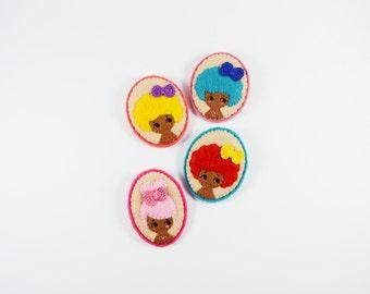 41% SALE Neon Urban Girl Felt Brooch / Felt Disco Girl Pin / Candy Felt Girl Brooch / Felt Miniature Portrait Pin / Funky Felt Girl Pin
