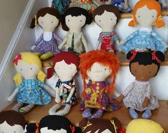 Custom, rag doll, cloth doll, maylo, heirloom, handmade, mini-me, alchemy