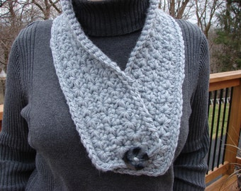 scarf, gray wool scarf, grey wool scarf, wool scarf, crocheted scarf, grey crocheted scarf,  scarves, grey scarves, crocheted scarves
